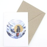 Oh Crumbs Art Watercolour Card - Black Cockatoo