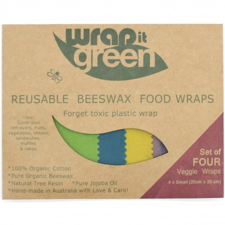 Wrap it Green Reusable Beeswax Food Wraps - Rainbow Set of 4
