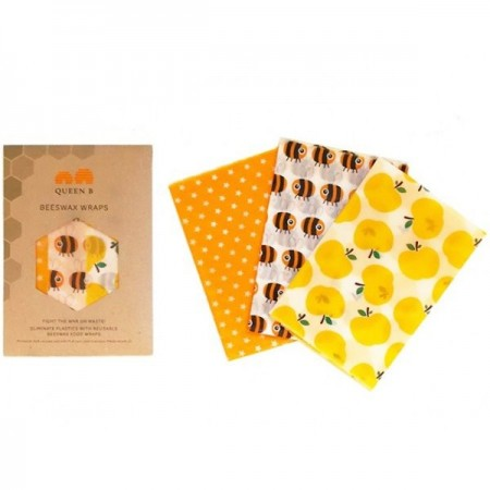 Queen B Beeswax Wraps Large (3pk) - Colour Pattern