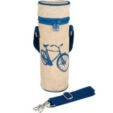 SoYoung Insulated Raw Linen Bottle Bag - Blue Bike