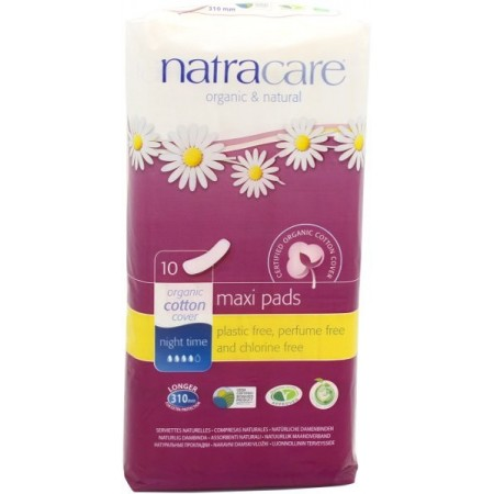 Natracare Organic Cotton Maxi Pads 10pk - Night Time