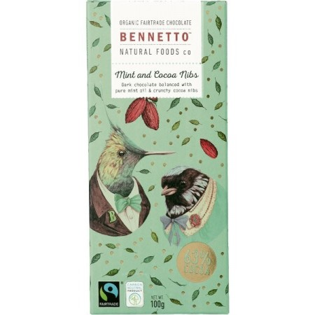 Bennetto Organic Chocolate 100g - Mint & Cocoa Nibs