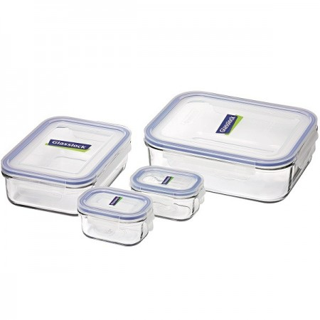 Glasslock Rectangle Container 4 Piece Set - Blue Seal