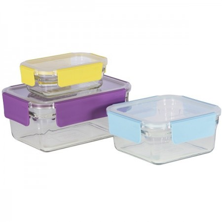 Glasslock Oven Safe Premium Container Set 3 Piece Coloured Snap Lids