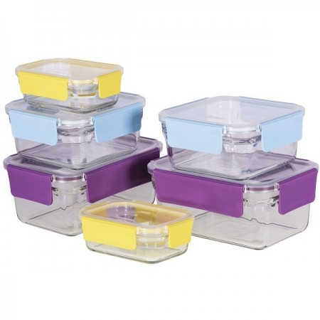 Glasslock Oven Safe Premium Container Set 6 Piece Coloured Snap Lids