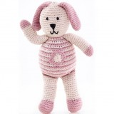 Pebble Crochet Bunny With Flower - Pink