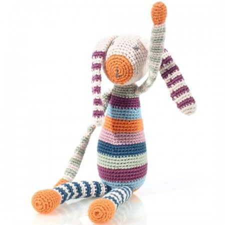 Pebble Crochet Bunny Rattle - Multicoloured