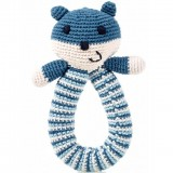 Pebble Crochet Bear Ring Rattle - Blue