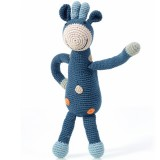 Pebble Crochet Giraffe Rattle - Ocean Blue