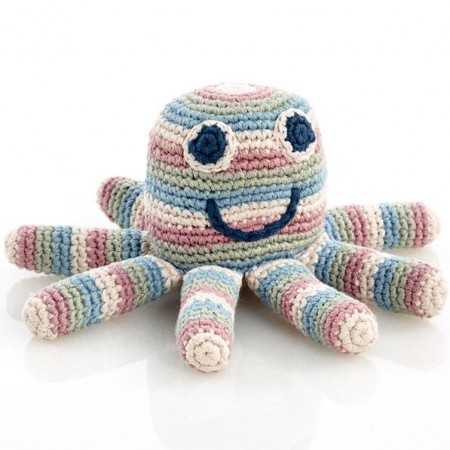 Pebble Crochet Octopus Rattle - Multicoloured