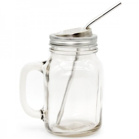 EcoJarz Glass Jar, Lid & Straw Kit - Regular Mouth Handle 500ml