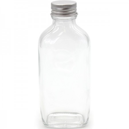Clear Glass Oval Bottle with Silver Cap 100ml
