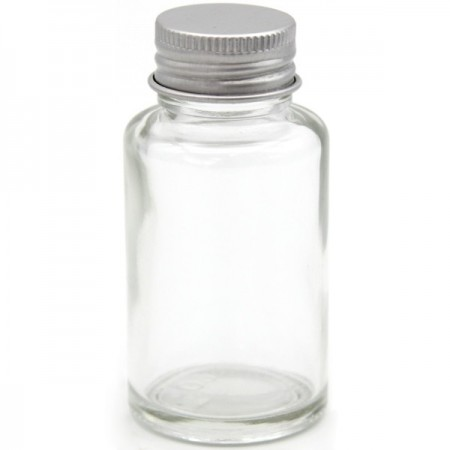 Clear Glass Bottle with Silver Lid 30ml