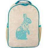 SoYoung Raw Linen Toddler Backpack - Aqua Bunny