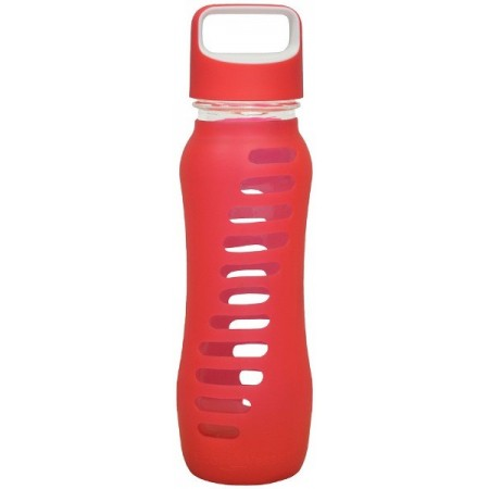 EcoVessel Glass Water Bottle Loop Cap 650ml - Raspberry LAST CHANCE!