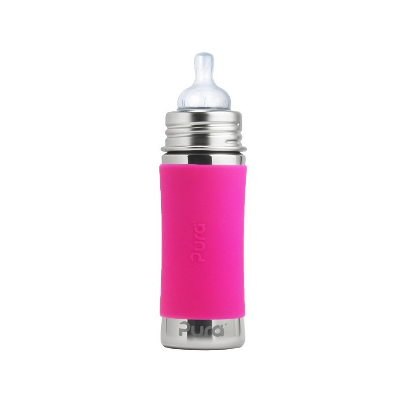 Pura Kiki Stainless Steel Infant Bottle 325ml - Pink
