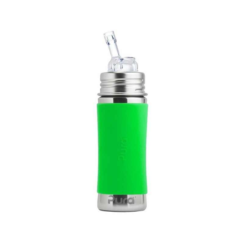 Pura Kiki Stainless Steel Straw Bottle 325ml - Green