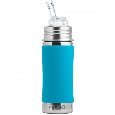 Pura Kiki Stainless Steel Straw Bottle 325ml - Aqua