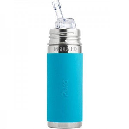 Pura Kiki Insulated Straw Bottle 260ml - Aqua