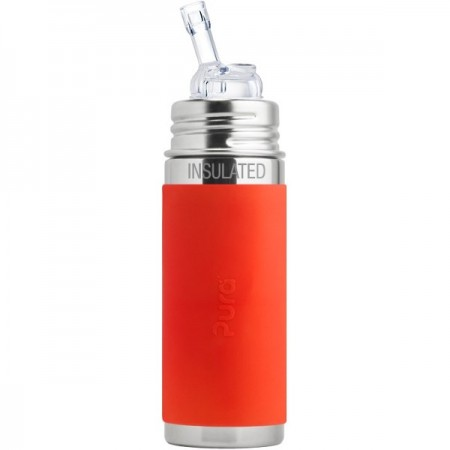Pura Kiki Insulated Straw Bottle 260ml - Orange