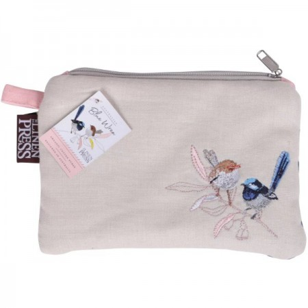 The Linen Press Organic Cotton Large Purse - Wild Blue Wren