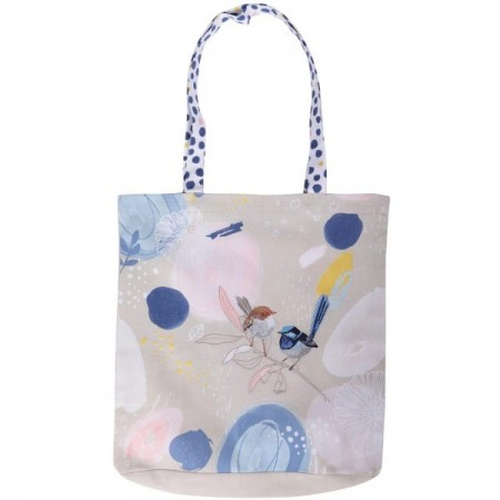 The Linen Press Organic Cotton Shopper Bag - Wild Blue Wren