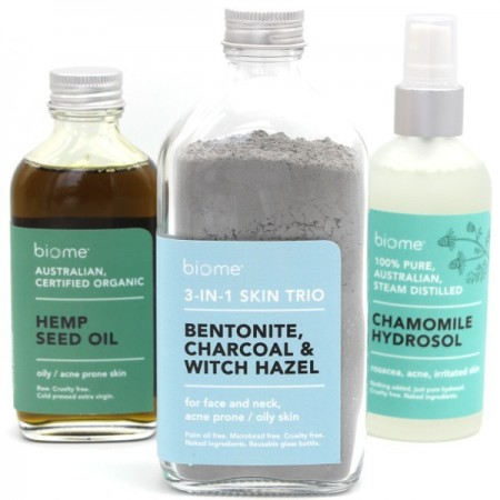 Biome Oily Acne Skin Pack: Charcoal 3-in-1 Face Clay, Chamomile Hydrosol + Hemp Oil