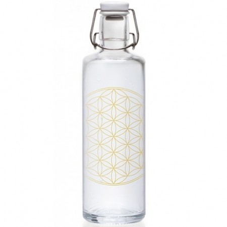 soulbottles Glass Water Bottle 1L - Flower of Life