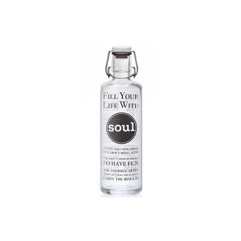 soulbottles Glass Water Bottle 1L - Fill Your Life With Soul