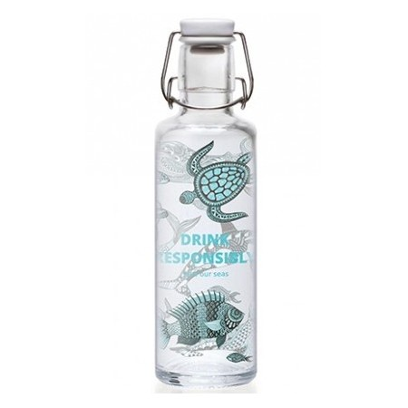 soulbottles Glass Water Bottle 0.6L - Drink Responsibly