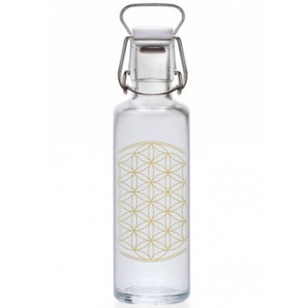 soulbottles Glass Water Bottle 0.6L - Flower of Life
