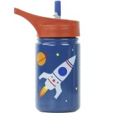 EcoVessel Scout Water Bottle 400ml - Blue Rocketship