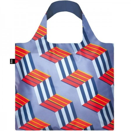 Loqi Reusable Shopping Bag - Navy Geometric Cubes