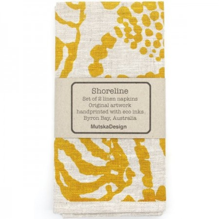 Mutska Linen Napkins 2pk - Shoreline Yellow