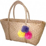 Woven Seagrass Pom Pom Shopper Bag