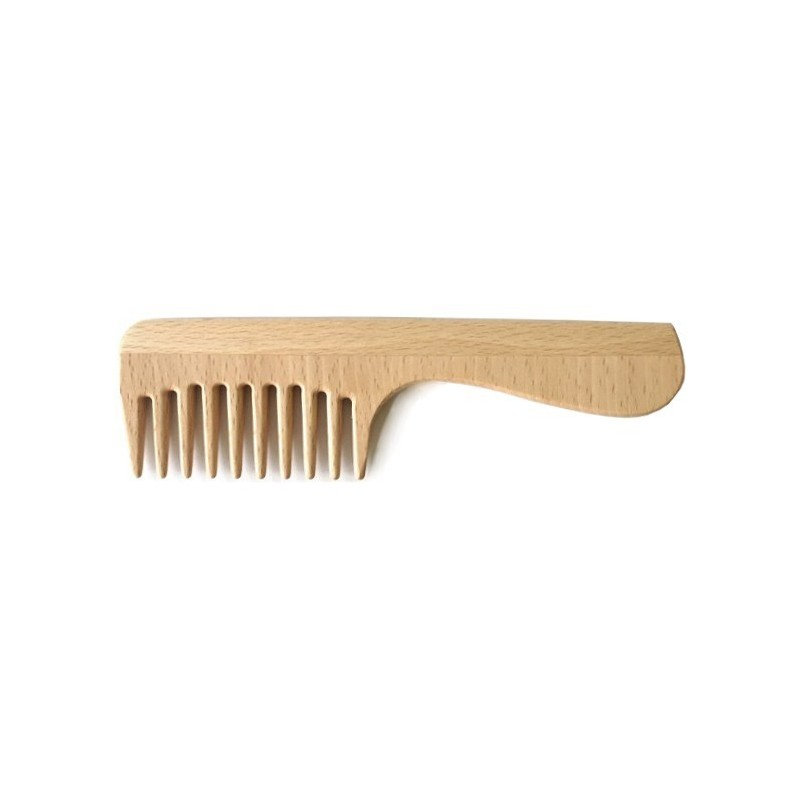 Wooden Wide-Tooth Comb With Handle