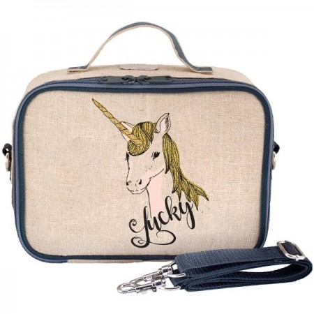 SoYoung Raw Linen Insulated Lunch Box - Lucky Unicorn