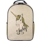 SoYoung Raw Linen Toddler Backpack - Lucky Unicorn