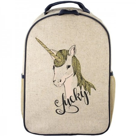c7e4223eed0c SoYoung Raw Linen Toddler Backpack - Lucky Unicorn - Biome Eco Stores
