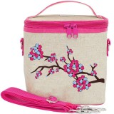 SoYoung Large Insulated Cooler Bag - Cherry Blossom Raw Linen