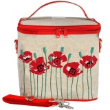 SoYoung Large Insulated Cooler Bag - Red Poppy Raw Linen