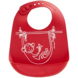 Mini Twist Silicone Bucket Bib - Monkey Business Red