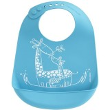 Mini Twist Silicone Bucket Bib - Giraffe Giggles Blue