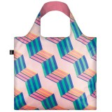 Loqi Reusable Shopping Bag - Pink Geometric Cubes