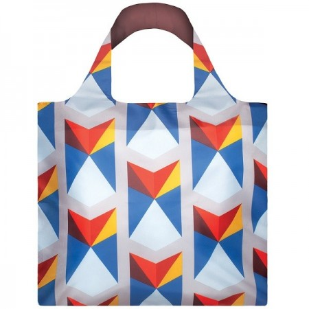 Loqi Reusable Shopping Bag - Blue Geometric Triangles