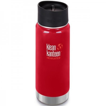 Klean Kanteen Wide Insulated Bottle 16oz 473ml - Mineral Red with Cafe Cap (Klean Coat)