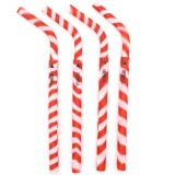 GreenPaxx Silicone Drinking Straws 4pk - Red & White Stripe