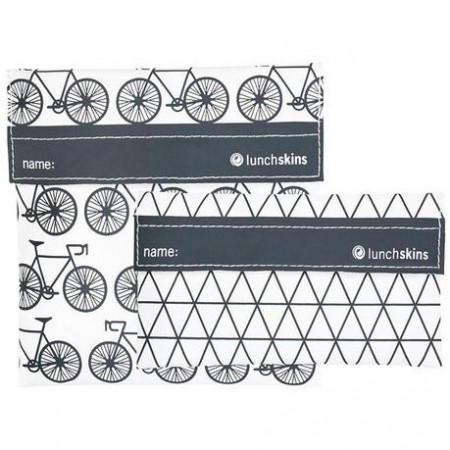 Lunchskins Sandwich Bag and Snack Bag Set � Charcoal Bicycle