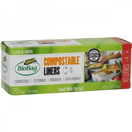 BioBag biodegradable plastic bin liners 10 litre (boxed 20pk)