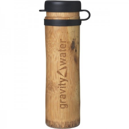 Bamboo Water Bottle Sport 400ml - Black (with inlay) LAST CHANCE!